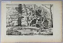 NICOLAS POUSSIN (FRENCH, 1594-1665) DIANNA FLEEING along with FIVE SIMILAR ENGRAVINGS Engraving: 10 x 15 in.; 11 1/2 x 8 in.; 12 x 1...