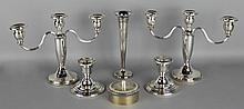 TWO AMERICAN SILVER CANDLEHOLDERS, A VASE AND A VERMEIL BOX