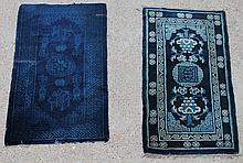 TWO BLUE WOOL CHINESE RUGS