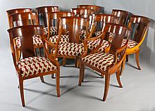 SET OF TWELVE BAKER PALLADIAN MAPLE DINING CHAIRS, INCLUDING TWO ARM CHAIRS