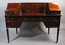 HEKMAN CARLTON HOUSE STYLE YEW WOOD VENEER DESK