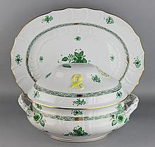 HEREND GREEN CHINESE BOUQUET COVERED TUREEN AND A PLATTER