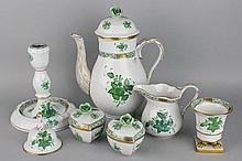 SEVEN HEREND GREEN CHINESE BOUQUET PIECES