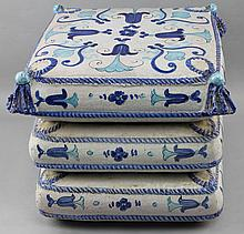 CERAMIC OTTOMAN WITH BLUE GLAZED DESIGN AND TASSELS