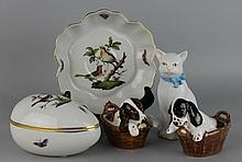 TWO HEREND ROTHSCHILD BIRD PIECES, A HEREND MODEL OF A CAT AND TWO ROYAL DOULTON MODELS OF DOGS