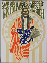 LUTHER MCKINLEY (LOU) STOVALL (AMERICAN, 1937-) OUR BROTHERS' KEEPER: THE INDIAN IN WHITE AMERICA Screenprint: 28 1/4 x 20 1/4 in.