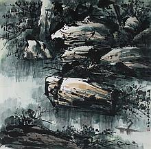 SHI DING PAIR OF CHINESE PAINTINGS Ink and watercolor on paper: 26 1/2 x 26 1/2 in.
