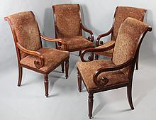 SET OF FOUR CLASSICAL STYLE LARGE MAHOGANY DINING ARM CHAIRS