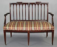 FEDERAL SLOVER AND TAYLOR STYLE MAHOGANY DOUBLE CHAIR BACK SETTEE