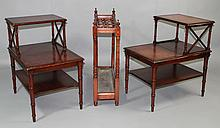 PAIR OF LEATHER-INSET CARVED MAHOGANY MULTI-TIERED OCCASIONAL TABLES WITH A TURNED MAHOGANY UMBRELLA STAND AND FAUX BOOK SIDE TABLE