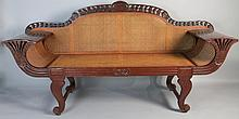 INDONESIAN ANGLO INDIAN STYLE HARDWOOD CANE SETTEE