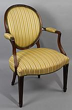 LOUIS XVI STYLE CARVED WALNUT FAUTEUIL