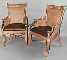 PAIR OF FRENCH EMPIRE CONTEMPORARY STYLE RATTAN AND BAMBOO ARMCHAIRS WITH GIILT METAL DOLPHIN-FORM ARMS
