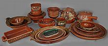 COLLECTION OF MEXICAN SLIP-DECORATED EARTHENWARE TABLEWARES INCLUDING SEVERAL PIECES BY J. ALDANA