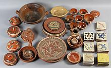 COLLECTION OF MEXICAN EARTHENWARE TABLEWARES AND TILES
