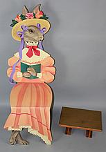 PAINTED RABBIT'S FORM CHILD'S CHAIR AND FOOTSTOOL