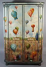 FANTASY FRENCH BALLOONING SCENE POLYCHROME-DECORATED ARMOIRE