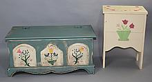 TWO PAINTED FURNITURE ITEMS, INCLUDING A BLANKET CHEST AND BEDSIDE CABINET