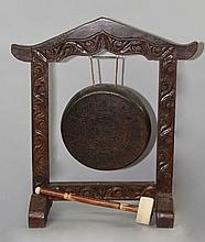 ASIAN BRASS AND WOOD GONG WITH STRIKER