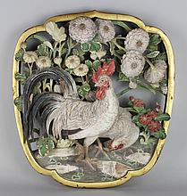 CHINESE CARVED AND PAINTED PANEL OF CHICKENS