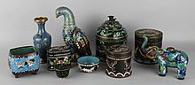 TEN CHINESE CLOISONNE ENAMEL DECORATIVE PIECES