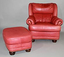 EXECUTIVE LEATHER, HICKORY NC, RED LEATHER EASY CHAIR AND OTTOMAN WITH NAILHEAD TRIM