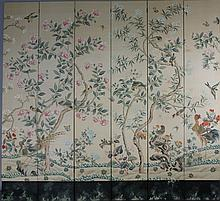 LARGE CHINOISERIE STYLE SIX-PANEL SCREEN
