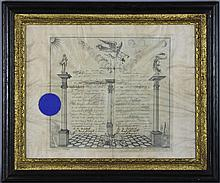 FRAMED MASONIC BROTHERHOOD CERTIFICATE FROM ALEXANDRIA - WASHINGTON, LODGE NO. 22, PRINTED ON VELLUM, INSCRIBED MARCH 22, 1900