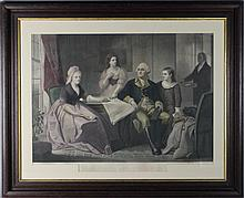 WILLIAM SARTAIN (AMERICAN, 1843-1924) WASHINGTON AND HIS FAMILY along with THREE SIMILAR FRAMED WASHINGTON PRINTS Engraving: 17 1/2...