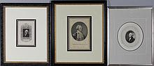 JAMES BARTON LONGACRE (AMERICAN, 1794-1869) GEORGE WASHINGTON along with FOUR OTHER FRAMED WORKS OF WASHINGTON Engraving: 6 x 4 in.