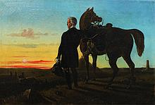 C. MORRIS (BRITISH, 19TH CENTURY) DUKE OF WELLINGTON WITH HIS HORSE Oil on canvas: 21 1/2 x 32 in.