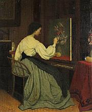 JOHN HENRY SMITH WOMAN PAINTING FLOWERS Oil on canvas: