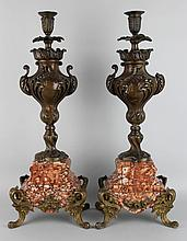PAIR OF LOUIS XV STYLE PATINATED METAL AND MARBLE CANDLESTICKS