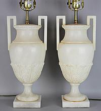 PAIR OF CARVED ALABASTER URN LAMPS