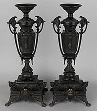 PAIR OF EASTLAKE STYLE PATINATED METAL URNS