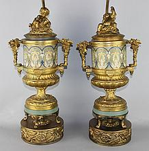 PAIR OF CONTINENTAL GILT-METAL AND CHAMPLEVE ENAMEL URN-FORM TABLE LAMPS