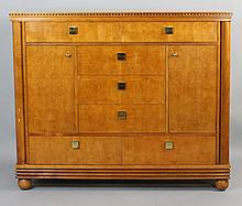 HICKORY WHITE LARGE CONTEMPORARY MAPLE CABINET WITH BRASS HARDWARE