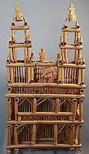 LARGE BAMBOO DOMED CHURCH BIRD CAGE OF UNUSUAL DESIGN