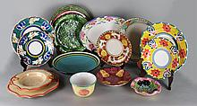 QUANTITY OF COLORFUL POTTERY TABLEWARES
