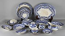 BUFFALO POTTERY BLUE AND WHITE 'VIENNA' PATTERN PART SERVICE