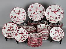 ITALIAN (CANTAGALLI) FAIENCE DARK ROSE AND WHITE SERVICE FOR FOURTEEN