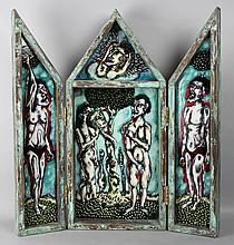 OJM ADAM AND EVE (TRIPTYCH), 1992 Mixed media: 26 1/2 x 24 in.