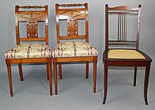 PAIR OFCONTINENTAL CARVED AND INLAID-FRUITWOOD CHAIRS, ALONG WITH ANOTHER NEO CLASSICAL STYLE CHAIR