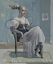 JAMES MCNAUGHT (BRITISH, 1948-) THE BLACK CORSET, 2003 Watercolor and gouache on board: 20 x 16 in. (sight)