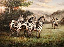 M. P. ELLIOTT (AMERICAN, 20TH CENTURY) ZEBRAS Oil on canvas: 36 x 48 in.
