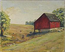 ELIZABETH KLINGEL THE RED BARN Oil on canvasboard; 16 x 20 in.
