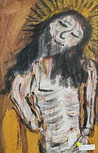 POSSIBLY JESUS REYES FERREIRA (MEXICAN, 1880-1977) JESUS Mixed media: 29 x 19 1/2 in.
