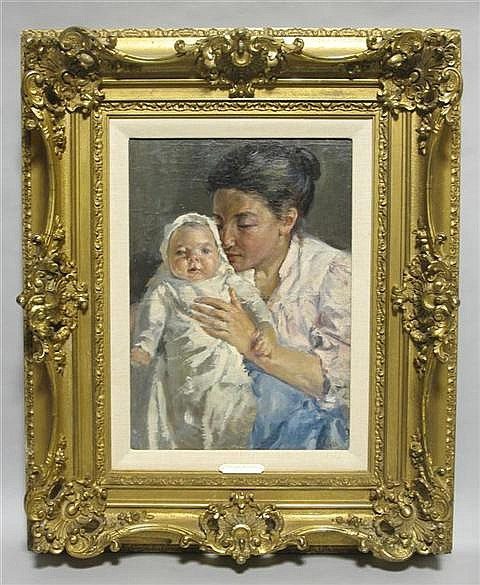 VIRGINIA ARMITAGE McCALL (AMERICAN, b.1908) MOTHER AND CHILD Oil on board: 18 x 13 in