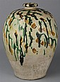 CHINESE SANCAI-GLAZED POTTERY VASE, TANG DYNASTY (618-906 A.D.)
