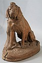 VICTOR CHEMIN (1825-1901) LARGE FIGURE OF A HOUND Terracotta: h. 26 in.
